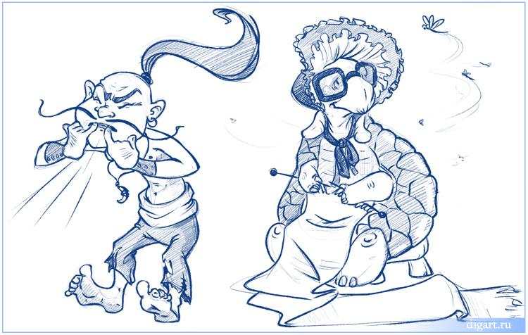 Нарисовать илью муромца и соловей разбойник поэтапно 2